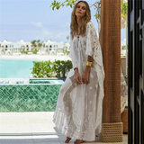 Free Shipping -- White Sexy Hollow Out V-neck Maxi Swimsuits Lace Cover Ups
