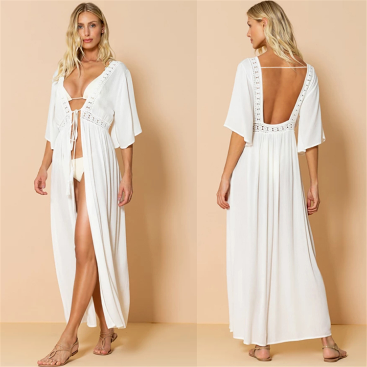 Free Shipping -- Sexy Lace V-Neck Hollow Out In Back Maxi Cardigan Cover Ups
