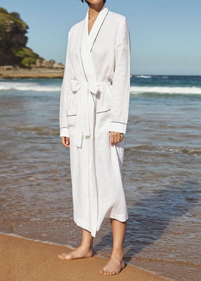 Free Shipping -- White Bathrobe-Style Two-Pocket Beach Sun Shirt Maxi Cardigan Cover Ups