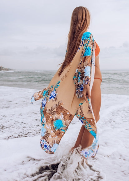 Free Shipping -- Blue Floral Print 3/4 Sleeve Maxi Cardigan Cover Ups