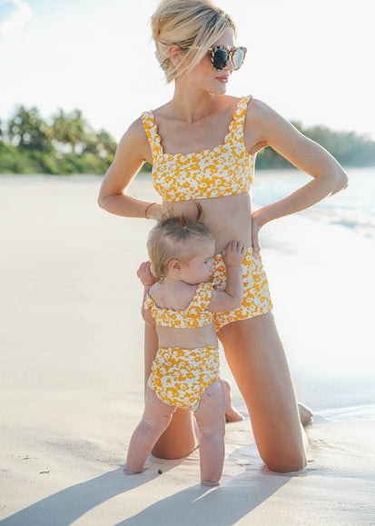Free Shipping -- Yellow Color Block Ruffle High Waisted Tankini Mommy & Me