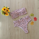Free Shipping -- Sexy Gravel Print Ring Linked Bandeau High Waisted Bikini