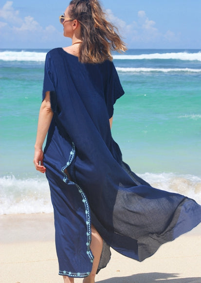 Free Shipping -- Vintage Embroidered Loose V-Neck Maxi Beach Dress Kaftan Cover Ups