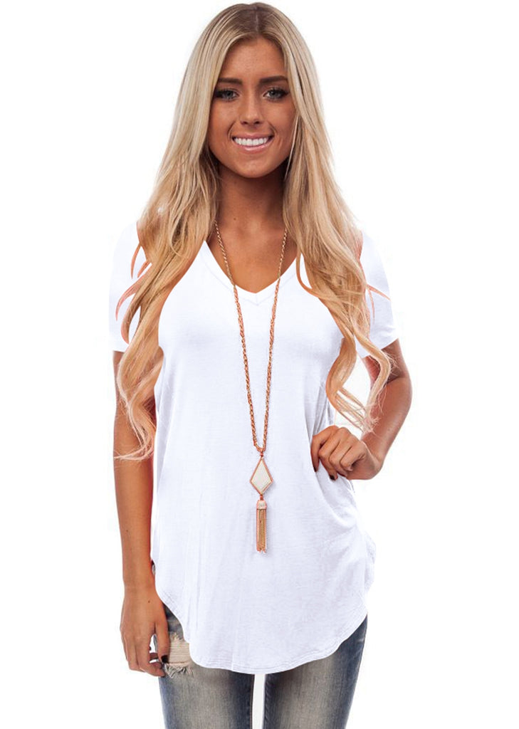 Free Shipping -- Womens Curved Hem V-Neck Short Sleeve Casual Tops