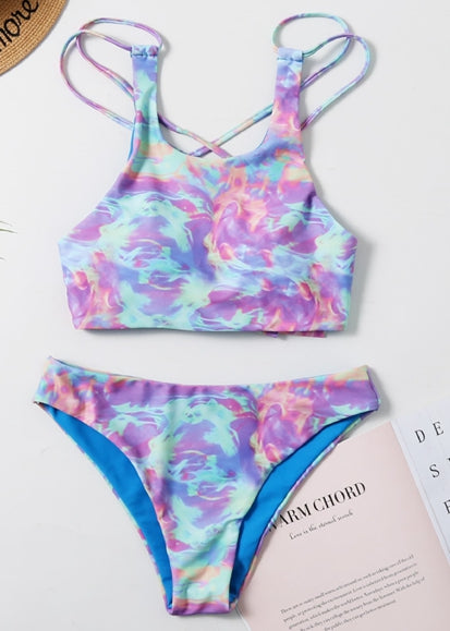 Free Shipping -- Colorful Print Tie Dye Tankini Top Thong Bottom