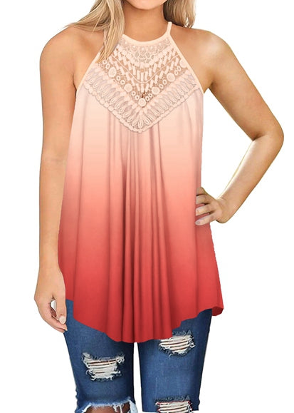 Free Shipping -- Women's Flowy Halter Casual Sexy Summer Loose Gradient Tank Tops