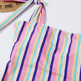 Free Shipping -- Sexy Colorful Stripes Tie Straps Shoulder Straps Monokini