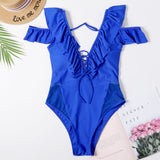 Free Shipping -- Sexy Blue Ruffle Deep V Spaghetti Strap Hollow Out Monokini