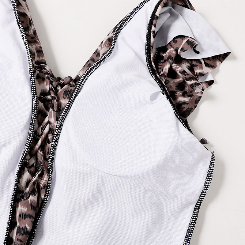 Free Shipping -- Sexy Leopard Print V-Neck Ruffle Shoulder Straps Monokini