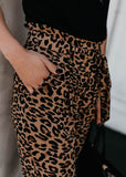 Free Shipping -- Womens Fashion High Waisted Belted Leopard Print Trousers