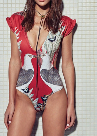 Free Shipping -- Sexy Birds Print Short Sleeve Deep V Monokini