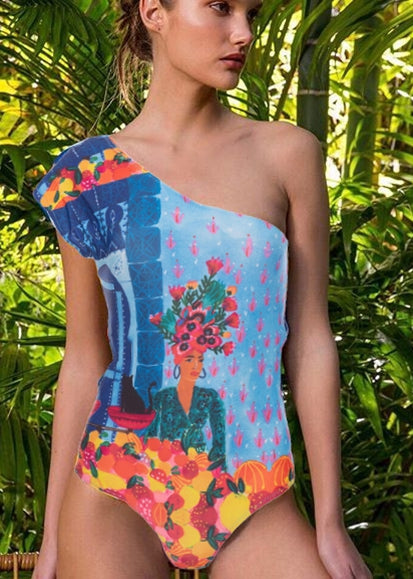Free Shipping -- Sexy Comic Print One Shoulder Straps Monokini
