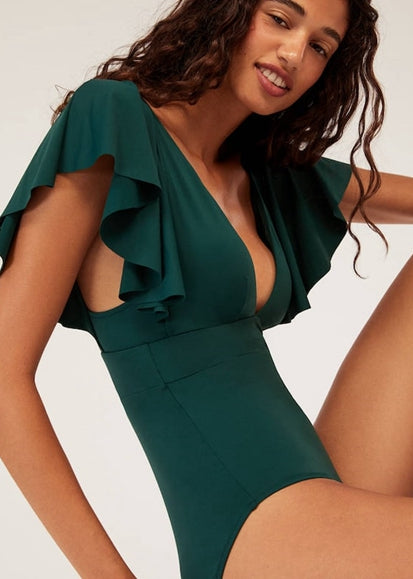Free Shipping -- Green Ruffle Deep V High Waisted Monokini