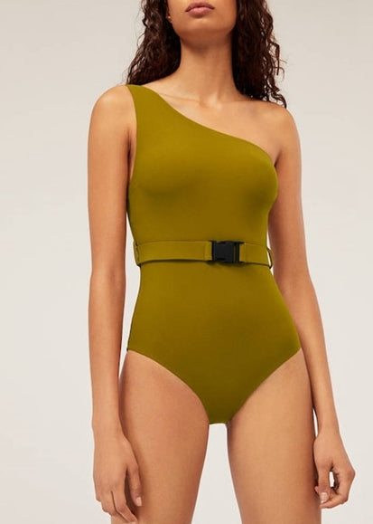 Free Shipping -- ArmyGreen Single Shoulder Straps With Belt Monokini