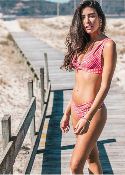 Free Shipping -- Pink Plaid Hollow Out Push Up Bikini