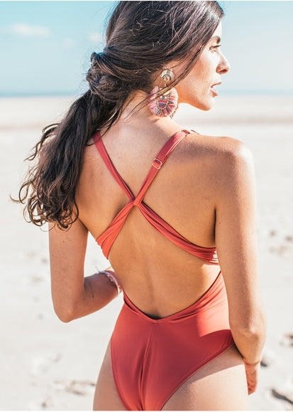 Free Shipping -- Sexy Red Folds Cross Back Strap High Waisted Monokini