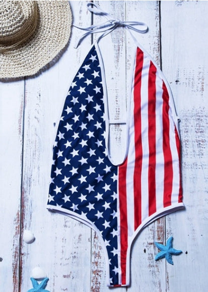 Free Shipping -- Deep V-Neck American Flag Swimsuit Halter Cutout Back Monokini