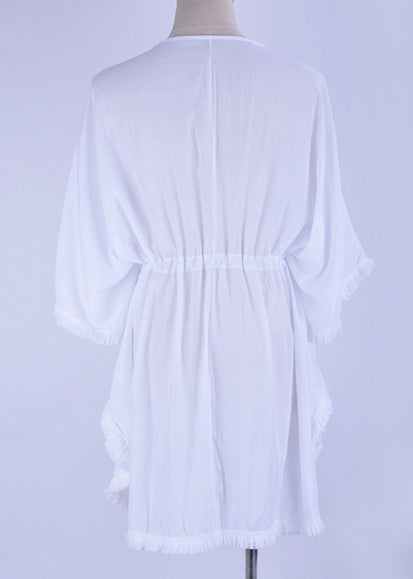Free Shipping -- Tassel Sleeve With Embroidered White Cotton Cover Ups