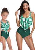 Free Shipping -- Green Tropical Ruffle High Waisted Swimwear Mommy & Me