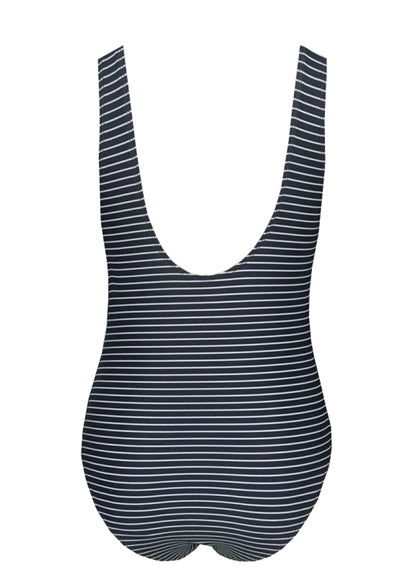 Free Shipping -- Gray Stripe One Piece Swimsuit