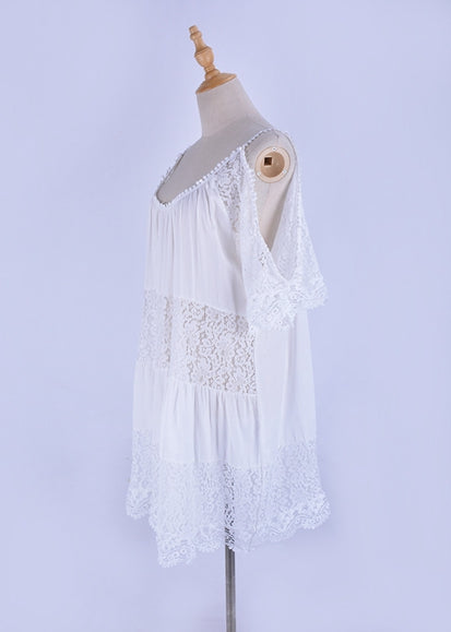Free Shipping -- Short Sleeve Scoop Neck White Lace Cover Ups