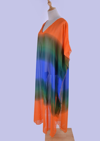 Free Shipping -- Chiffon Gradient Printed V-neck Loose Vintage Cover Ups