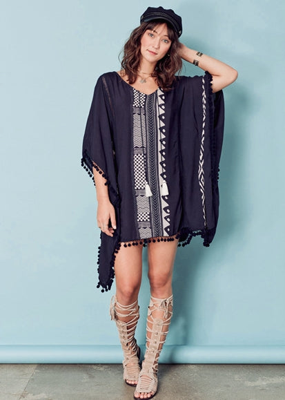 Free Shipping -- Black And White Striped Cotton Tassel Short Cover Ups