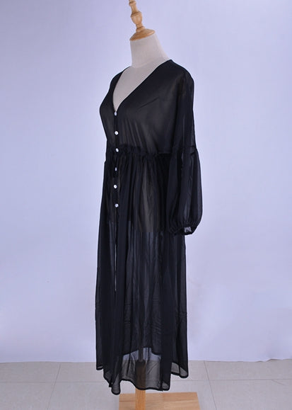 Free Shipping -- Chiffon Solid Flare Sleeve Tie Waist Beach Dress with Button