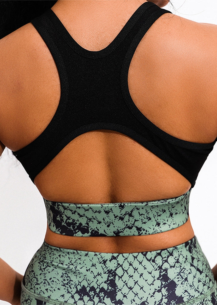 Free Shipping -- Yoga Outfits Snake Printing Criss Cross Back Yoga Bra Quick-drying Leggings