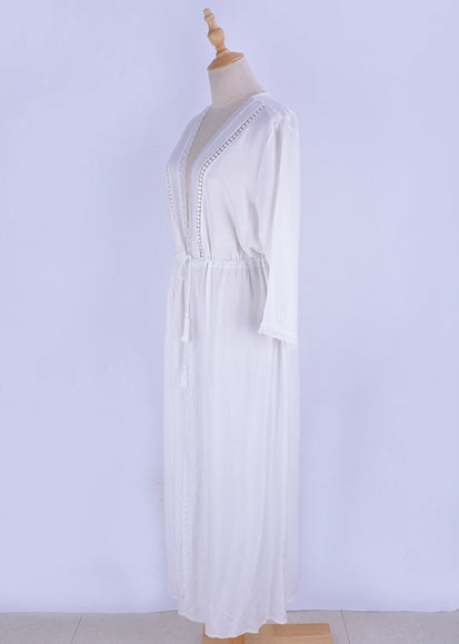 Free Shipping -- White Lace Sleeve with Belt Maxi Cardigan Cover Ups