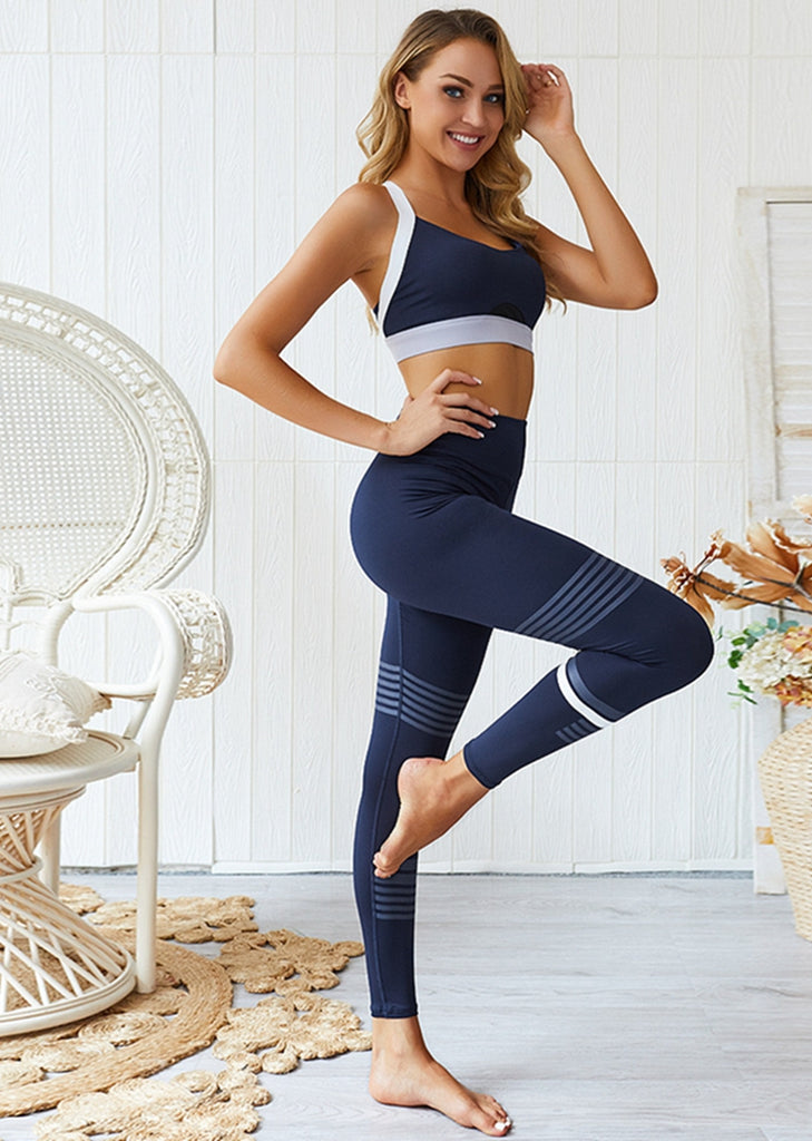 Free Shipping -- Seamless Slim Color Block Stripe Leggings and Cross Strap Fitness Push-up Bra Sets
