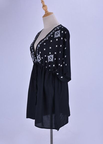 Free Shipping -- Black Star Print Embroidered Deep V-Neck Short Cover Ups