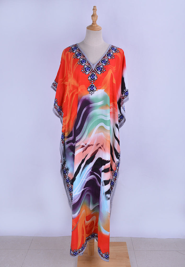 Free Shipping -- Vintage Print Short Sleeve Robe V-Neck Maxi Swimsuits Kaftan Cover Ups
