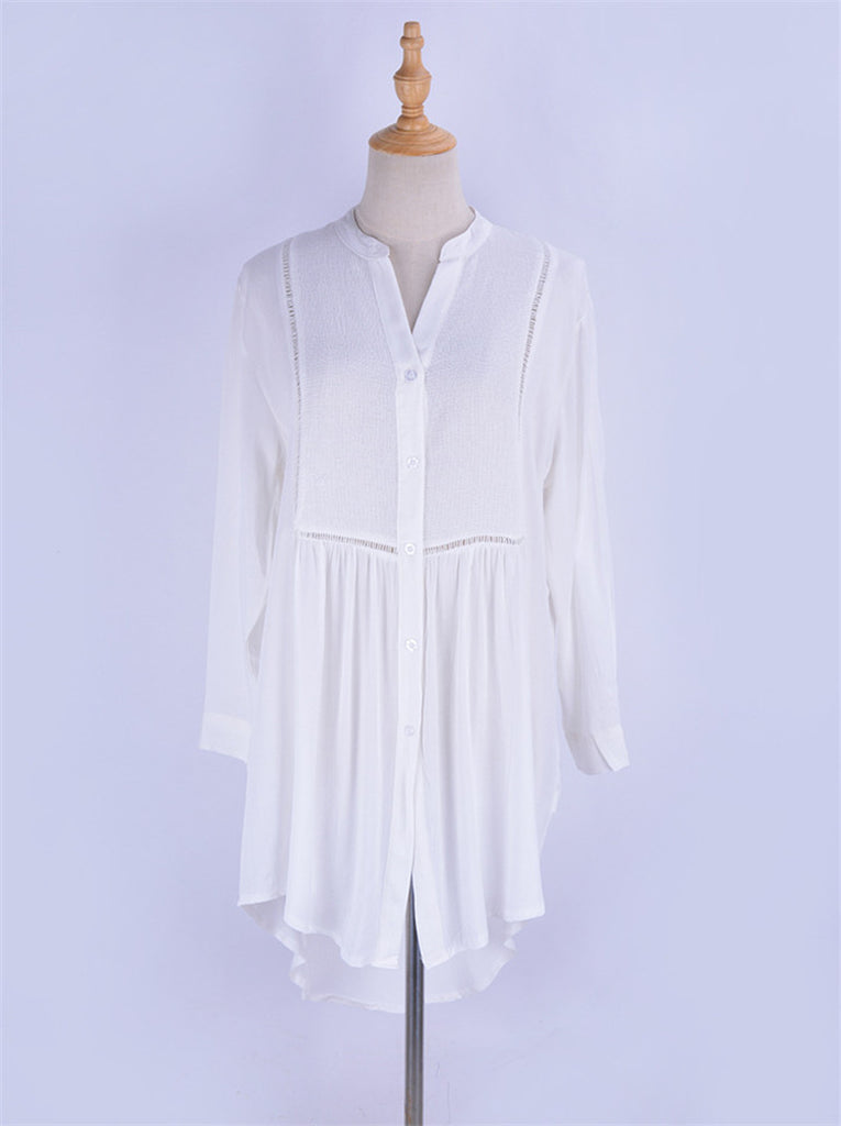 Free Shipping -- Sexy White Grid Button Shirt Cover Ups Long Sleeve Beach Skirt