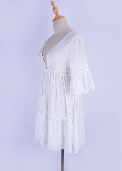 Free Shipping -- White Half Sleeve V-Neck Cut Out in Back Beach Dresses