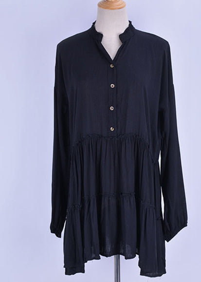 Free Shipping -- Sexy Solid Pleated V-Neck Pullover Long Sleeve Shirt Cover Ups