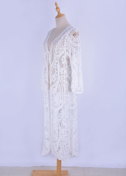 Free Shipping -- White V-Neck Lace Embroidered Maxi Cardigan Cover Ups