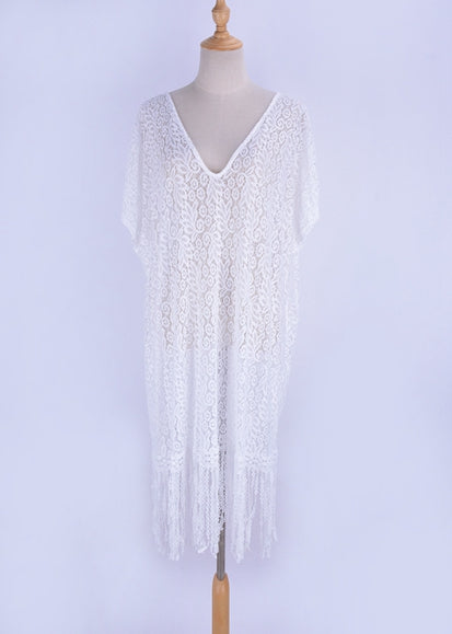 Free Shipping -- White V-Neck Tassel Short Sleeve Swimsuits Lace Cover Ups