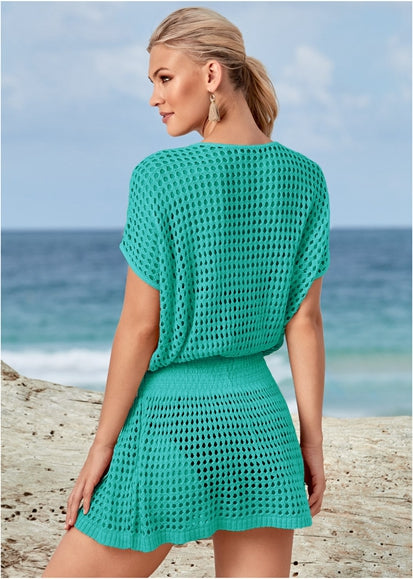 Free Shipping -- Sexy Mesh Hollow Out V-Neck Swimsuits Crochet Knitted Cover Ups