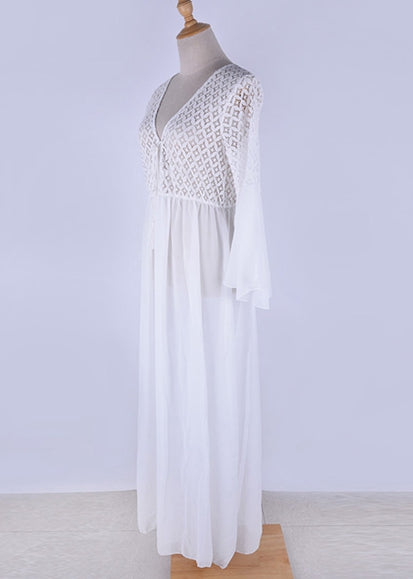 Free Shipping -- White Lace Hollow Out Deep V-Neck Flare Sleeve Beach Dress