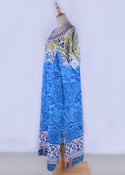 Free Shipping -- Blue Boho Printed Beach Dress Short Sleeve Kaftan Vintage Cover Ups