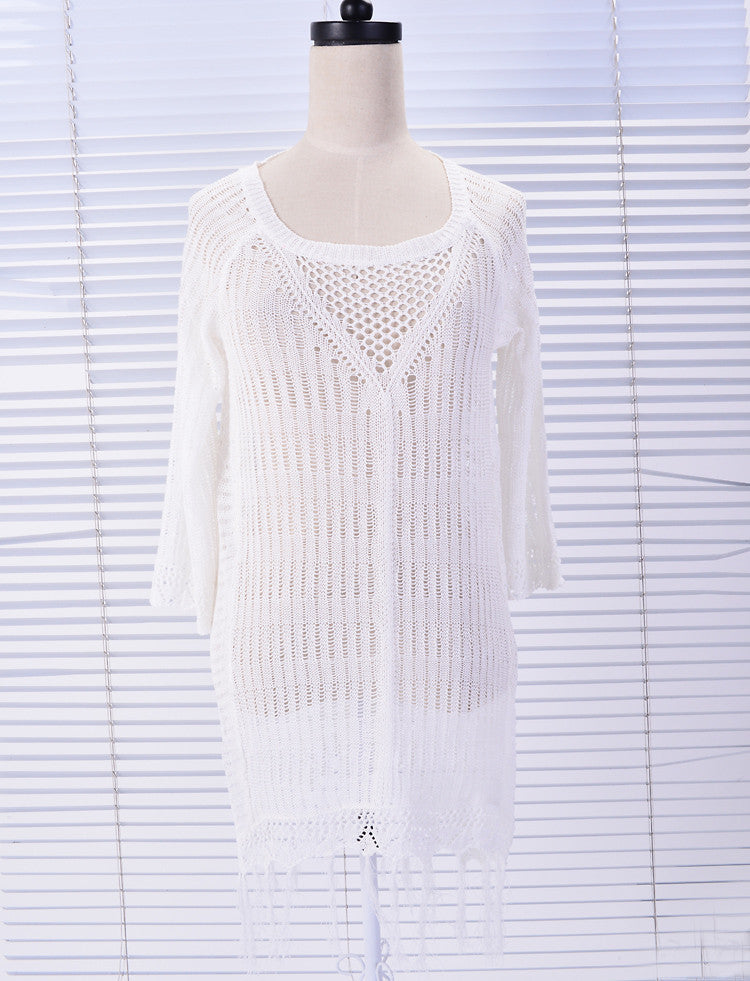 Free Shipping -- Black/White Short Sleeve Maxi Crochet Knitted Cover Ups With Hollow Out