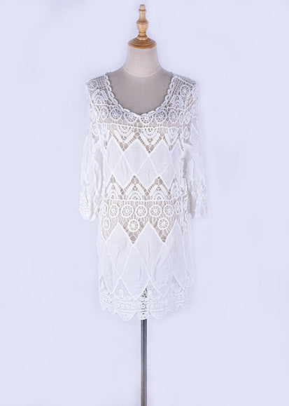 Free Shipping -- Solid Stylish Round Neck Long Sleeve Swimsuits Embroidered Cover Ups