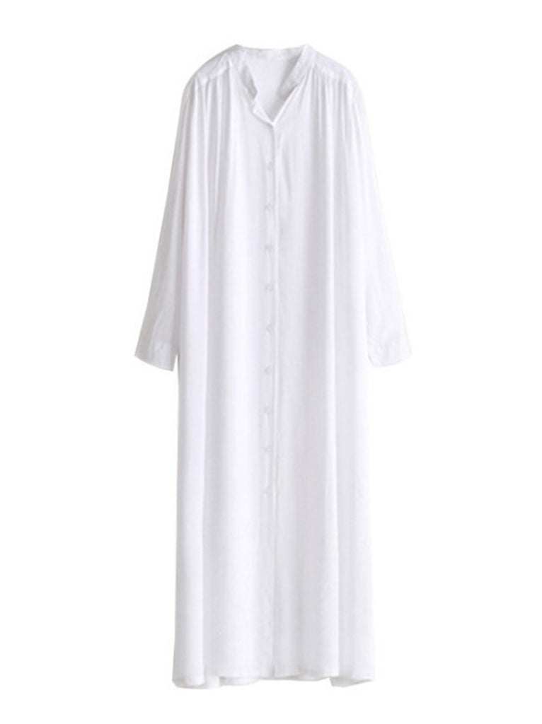 Free Shipping -- White Maxi Button Cardigan Shirt Cover Ups & Beach Dress