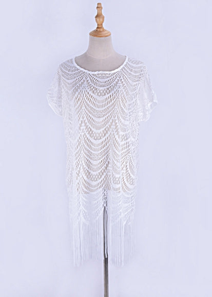 Free Shipping -- Solid Color Tassel Lace Short Sleeve Embroidered Short Cover Ups