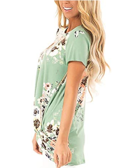 Free Shipping -- Green Floral Print Short Sleeve Twist Knot Front Tops