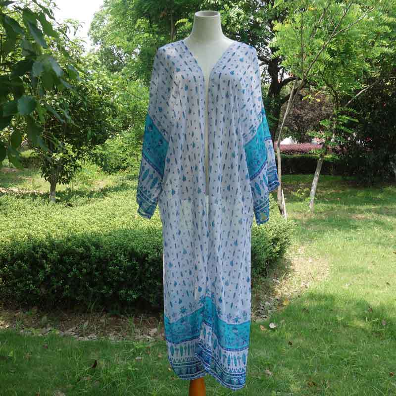 Free Shipping -- Peacock Print Long Sleeve Maxi Cardigan Cover Ups