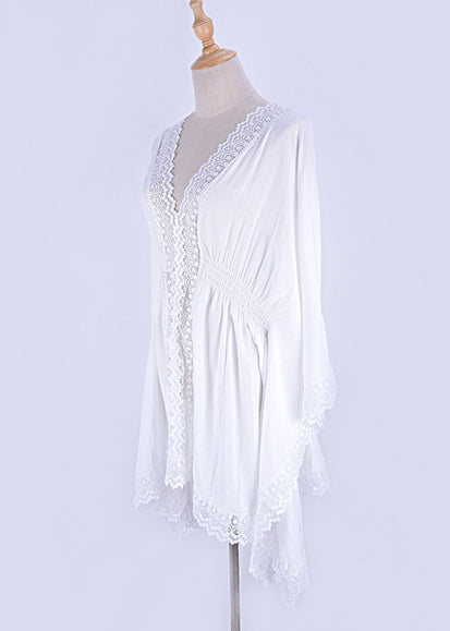 Free Shipping -- White Lace Embroidered Long Sleeve Beach Dresses