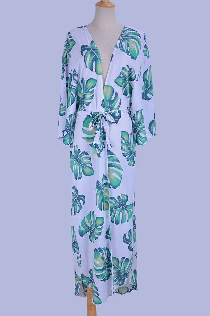 Free Shipping -- Green Banana Leaf Print Half Sleeve Maxi Cardigan Cover Ups