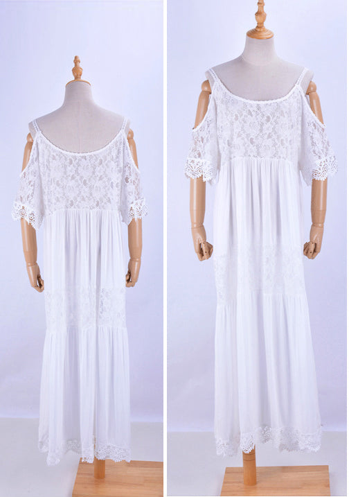 Free Shipping -- White Off Shoulder Backless Maxi Swimsuits Lace Cover Ups